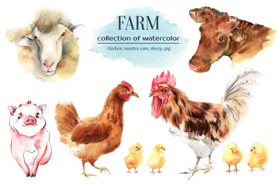 Farm animals watercolor collection
