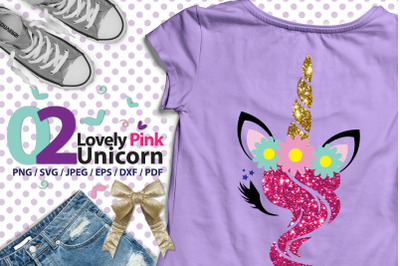 Lovely Pink Unicorn 02 high res svg, DXF, PDF, png, eps, jpeg