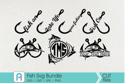 Fish Svg Bundle, Fishing Svg, Fish Clip Art, Fishing Monogram