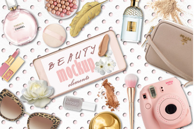 Beauty mockup elements and backgrounds