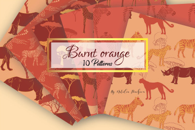 Burnt Orange Digital Paper animal