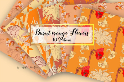 Digital Paper Burnt Orange Flowers