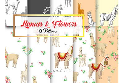 Llamas Digital Paper with Floral
