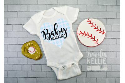 Baseball Baby Boy White Blank Bodysuit Mockup, Infant One Piece Stock
