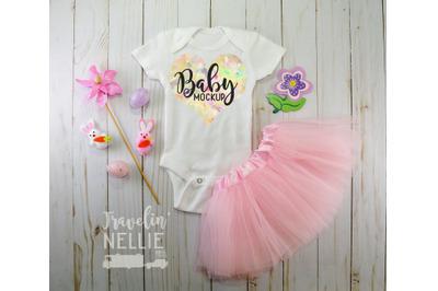 Easter Baby Girl, White Blank Bodysuit Mockup, Infant One Piece Stock