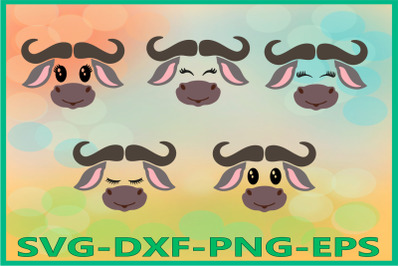 Buffalo face SVG, Safari Animal svg, Buffalo svg, bull svg
