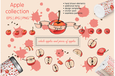 Collection with apple fruits illustration. Hand drawn sketch