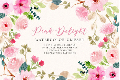 Pink Delight - Watercolor Floral Clipart