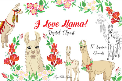 Llama Clipart with red flowers