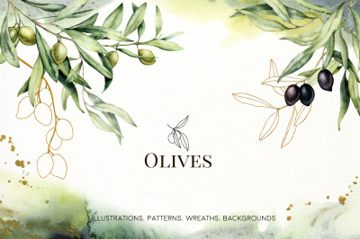 Olive. Watercolor collection
