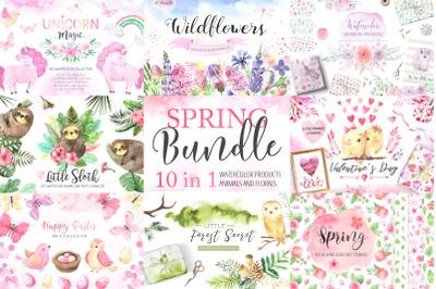 Watercolor Spring BUNDLE 10 in 1