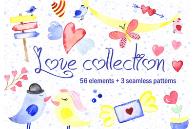 Love collection. Elements + patterns