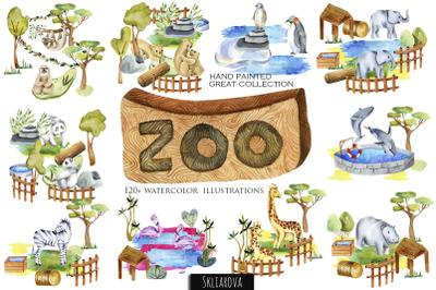 Zoo. Big watercolor collection.