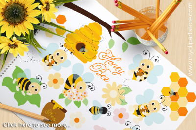 Honey Bee, Bumble Bees Vector Clipart, SVG Cut Files