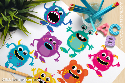 Fluffy Monsters Vector Clipart