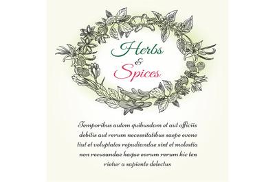 Natural herbal seasonings frame with text