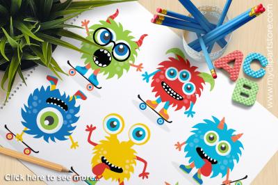 Monsters on Skateboards Vector Clipart