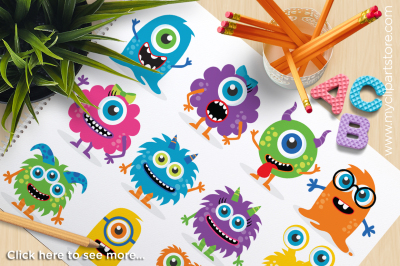 Monster Friends / Bright Monsters Vector Clipart
