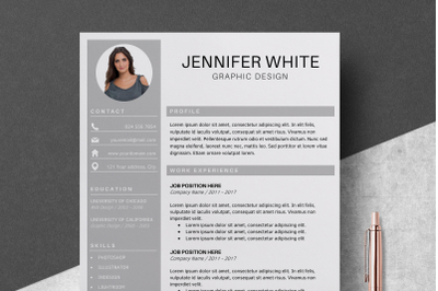 Professional Resume Template / Resume With Photo - Jennifer