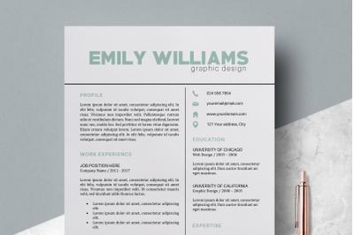 Resume Template / Modern CV Templates - Emily