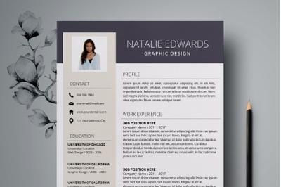 Creative Resume Template / CV Template for Word - Natalie