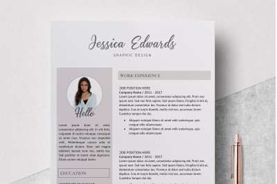 Modern Resume Template / Resume Template with Photo - Jessica