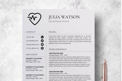 Professional Resume Template Nurse / CV Template Word - Julia