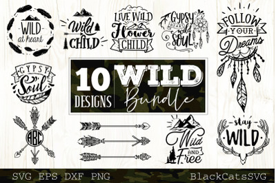 Wild bundle SVG  10 designs vol 1 Wild and boho SVG bundle