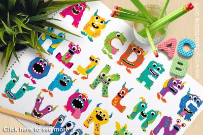 Monster ABC (Girl) Alphabet Clipart