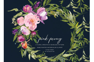 Watercolor Pink Peony Wreaths