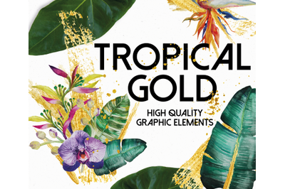 Tropical Greenery And Gold Design