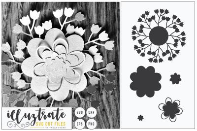 Paper Cutting Flower SVG Cut File - DIY 3D flower Cut File - DXF Cut