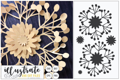 Paper Cutting Flower SVG Cut File - DIY 3D flower Cut File - DXF Cut