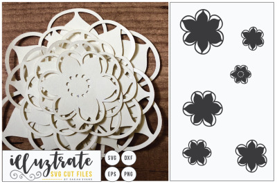 3D Flower, Layered Flower, Flower SVG Cut File, Paper Cutting Flower