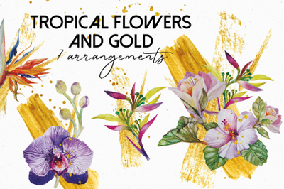 Tropical flowers and gold