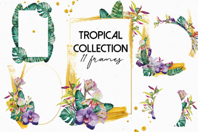 Tropical Plants Frames with Gold