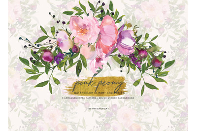 Watercolor Pink Peony Clipart - Pink and Purple Flowers