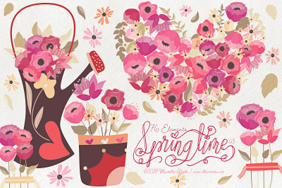 Springtime 03 - Red and Pink Vector Clipart