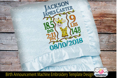 3 sizes Giraffe Baby Birth Announcement Embroidery Design TEMPLATE Bab