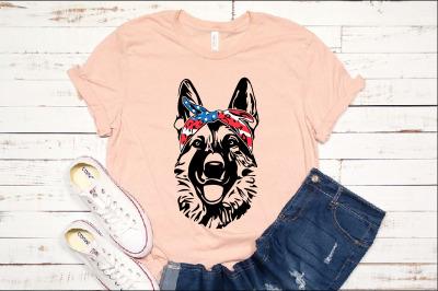 German shepherd USA Bandana mask Head Dog 4th July Breed K-9 1369s