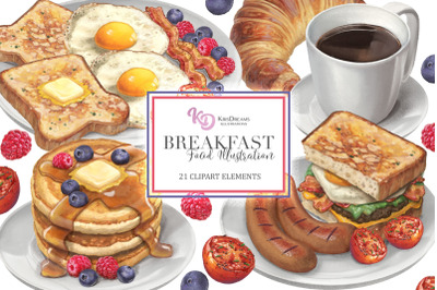 Breakfast Food Clipart Elements