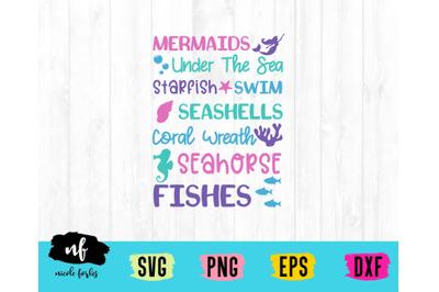 Mermaid Subway Art SVG Cut File
