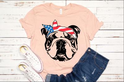Bulldog USA Bandana mask United States Flag 4th July Bulldogs 1370s