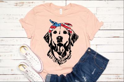 Lab SVG Labrador USA Bandana mask United States Flag Dog 4th July 1371