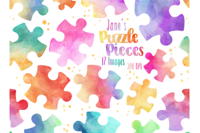 Watercolor Puzzle Pieces Clipart