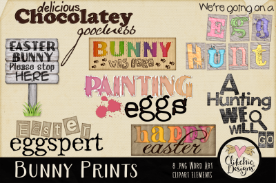 Easter Clipart - Bunny Prints Word Art Spring Clip art