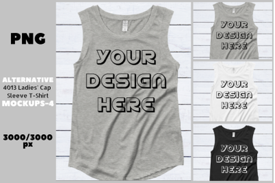 Alternative 4013 Ladies' Cap Sleeve Flat T-Shirt Mockups