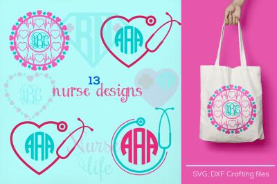 Nurse monogram Svg cutting file, nurse Desings SVG, DXF, Cricut Design Space, Silhouette Studio,Digital Cut Files