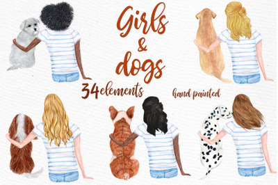 Watercolor Girls with Dogs clipart