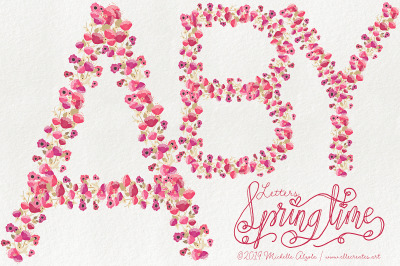 Springtime 03 - Red and Pink LETTERS Flower Vector Graphics and Clipar